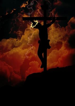 black jesus: Jesus hanging on the cross