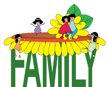 cartoon words: Family Illustration