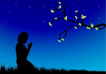 sad love: Praying Girl Illustration