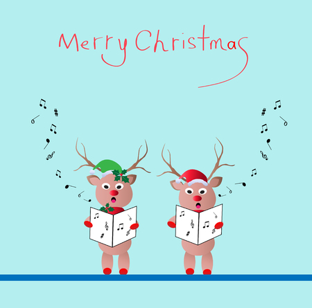 Two reindeer singing christmas song -vector illustration Vector