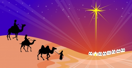 three colors: Wisemen silhouette Illustration