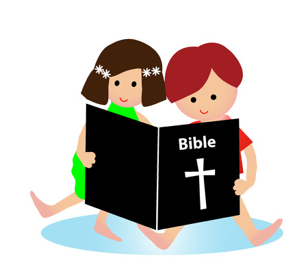 cartoon reading: Child reading bible Illustration