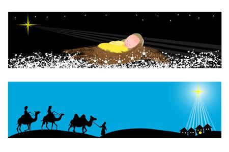Twee kerst banners-Wisemen en baby jesus