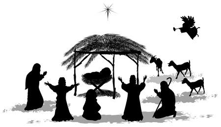 Zwart silhouet kerststal en herders