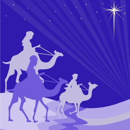 three wise men: Wisemen silhouette Illustration