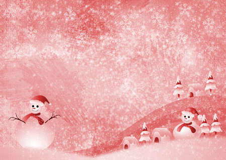 Christmas background with snowman and snowflakes photo