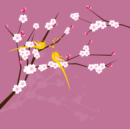 Bird on branch with pink cherry blossoms Vector