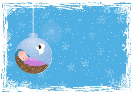 Christmas background with baby jesus  Vector