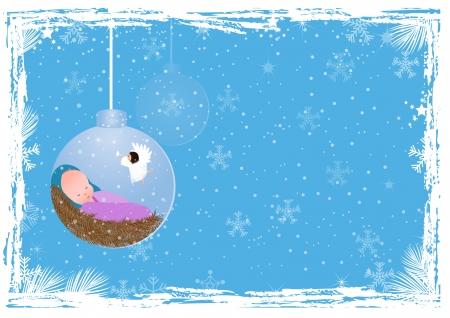 messiah: Sfondo Natale con Ges� Bambino Vettoriali