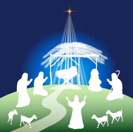 stables: Christmas nativity scene silhouette and shepherds-color Illustration
