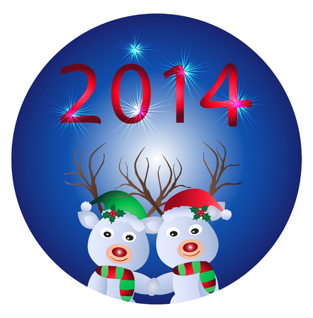 Christmas and New Year Greeting card -reindeer  Vector