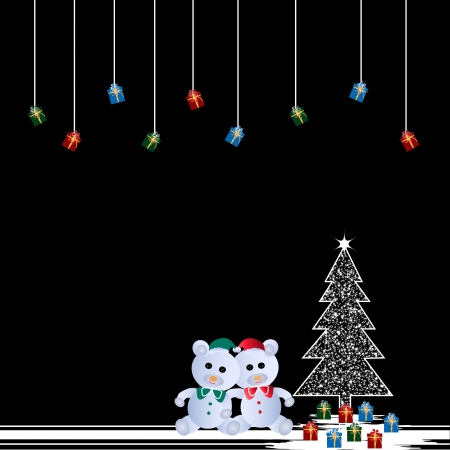 Two teddy bears and christmas tree Vector