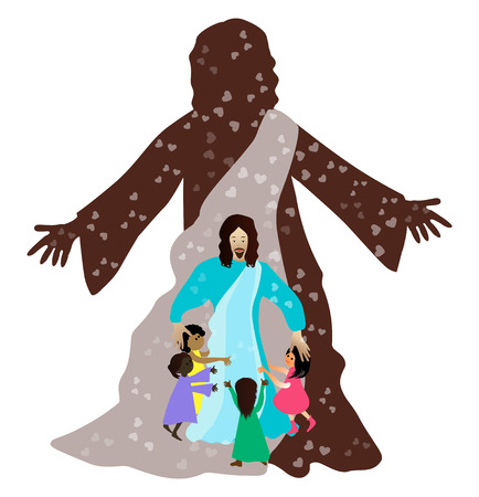 Jesus loves the little children Vector