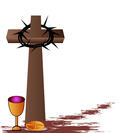 Holy Communion-Bread,wine,chalice and cross Vector