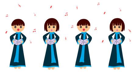 Children singing Vector