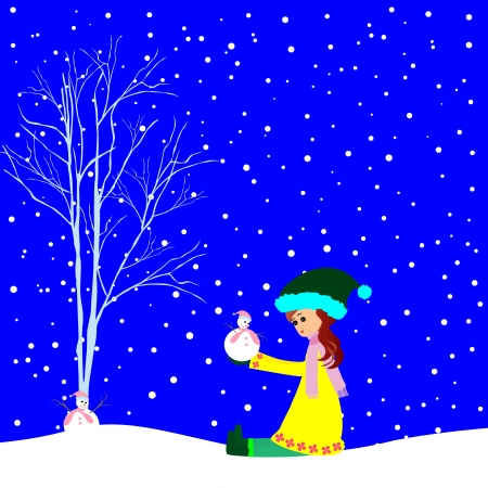 little girl with small snowman Vector