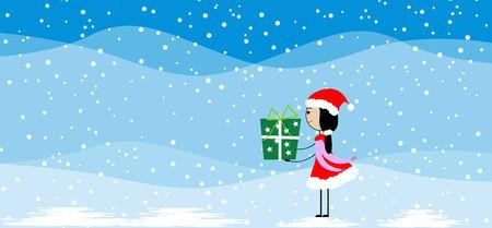christma: Girl holding a christmas gift