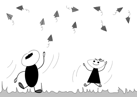 throwing paper: Paper Airplane Illustration