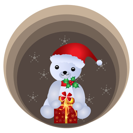 Merry Christmas Teddy bear Vector