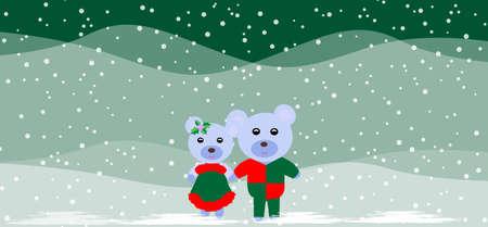 osos de peluche: Navidad de fondo con dos osos de peluche lindos