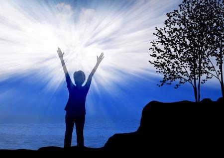jesus standing: Woman worship and praise