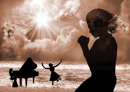 Pray and Praise Standard-Bild