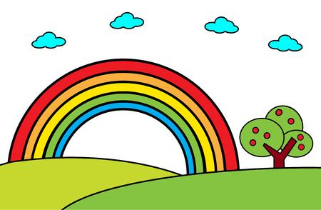 Landscape with rainbow and tree -Vector cartoon illustration