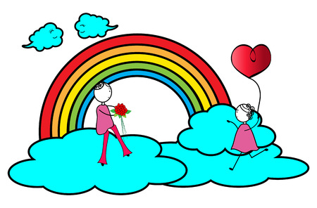 Happy couple play on a cloud -Valentines day Vector