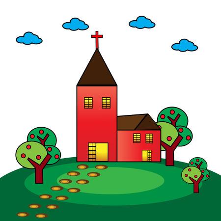 praise and worship:  A vector illustration of a christian church