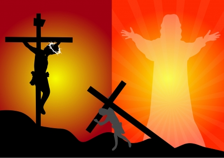 Jezus Christus kruisiging en opstanding Stock Illustratie