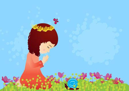 ajoelhado: Menina bonita que praying