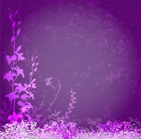 Grunge floral frame on purple background Vector