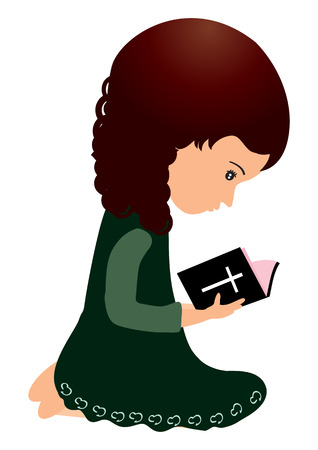 worship praise: Little girl reading bible  Illustration