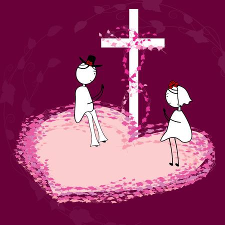 worshiping: Couple Praying Illustration