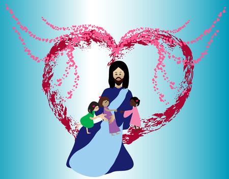 Amor a Jesús los niños Ilustración de vector