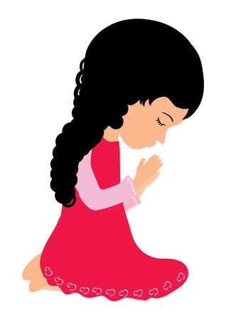 child praying: Ni�a rezando Vectores