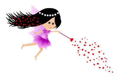 Little fairy giving love Vector