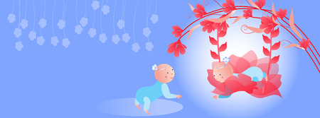 Baby on a swing  Vector