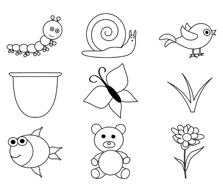Line Art-vector set of outlined cartoon animals and insects Vector