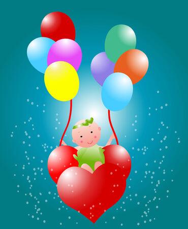 balloon girl: Baby flying with heart balloon