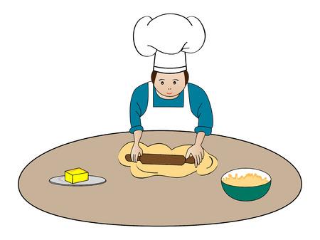 kneading: Baker making dough Illustration