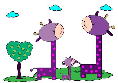 Giraffes family Vector