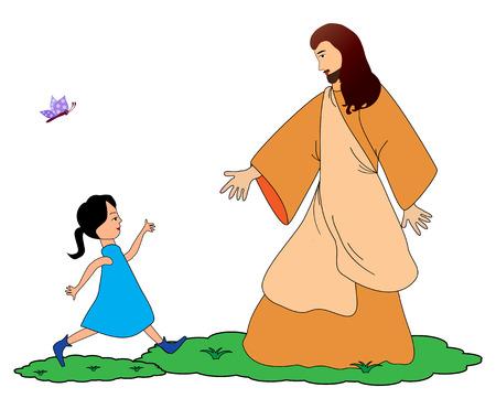 child jesus: Follow Jesus Illustration