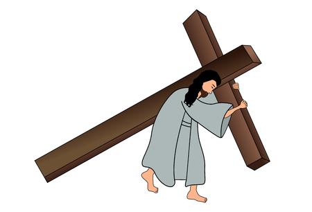 Jesus carrying the cross Vector