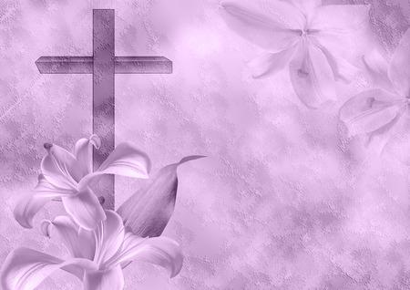 キリスト教の十字とユリの花 写真素材