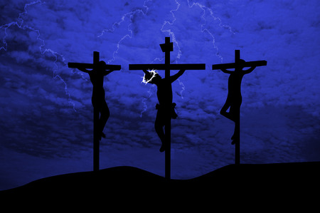 jesus christ crown of thorns: Jesus crucifixion Stock Photo