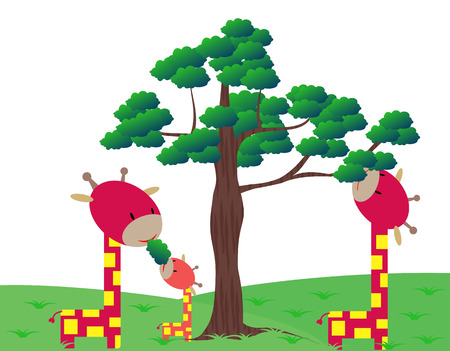 Giraffes family Vector