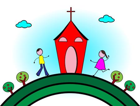 familia orando: Felices los niños ir a la iglesia Vectores