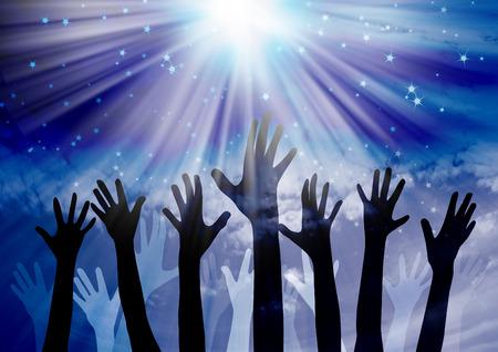alabando a dios: Celebración manos Foto de archivo
