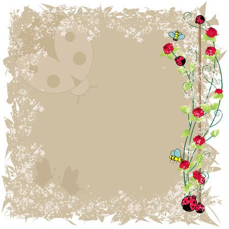 ladybird:  bee and ladybird frame Illustration